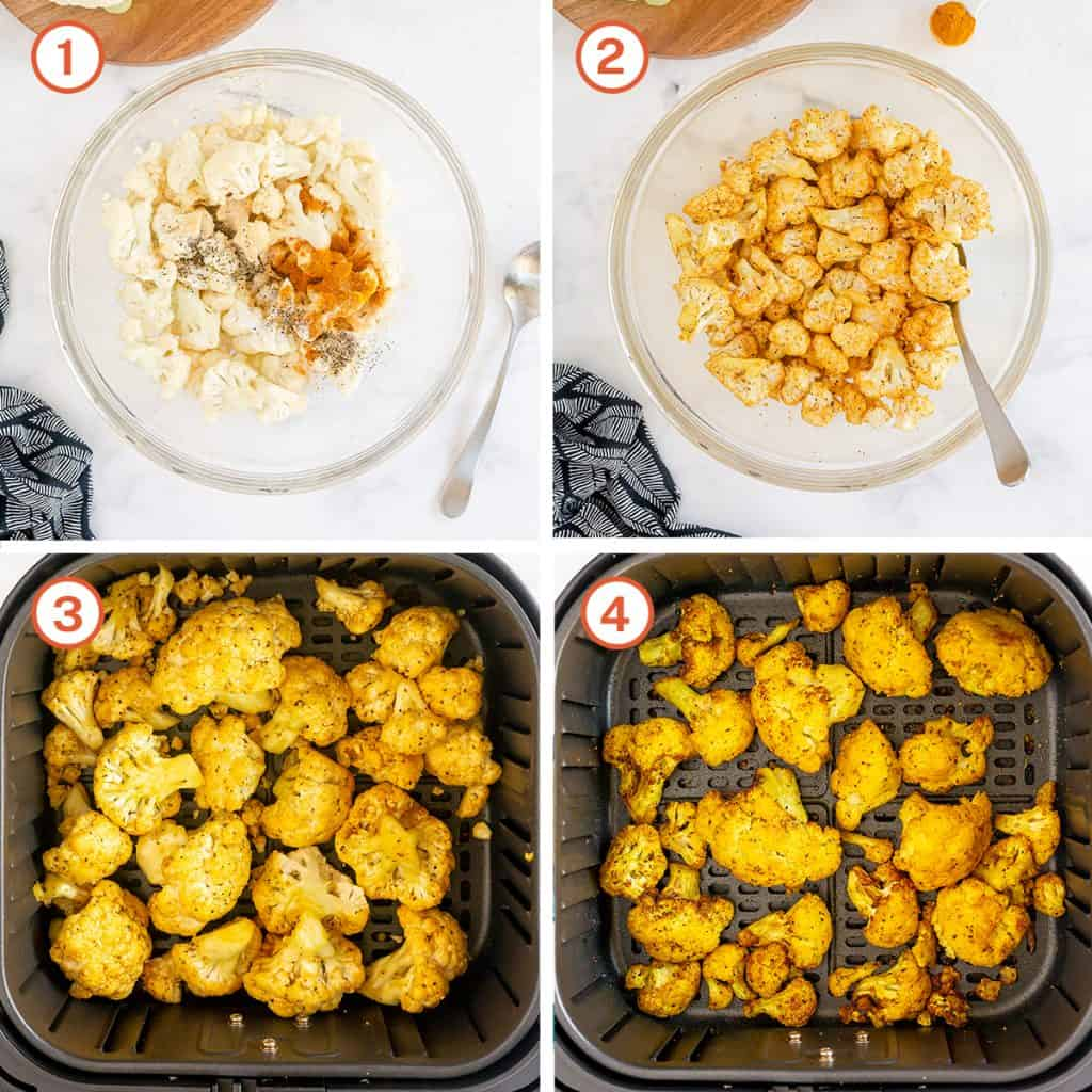 Cauliflower is combined with turmeric in a bowl and roasted in an air fryer.