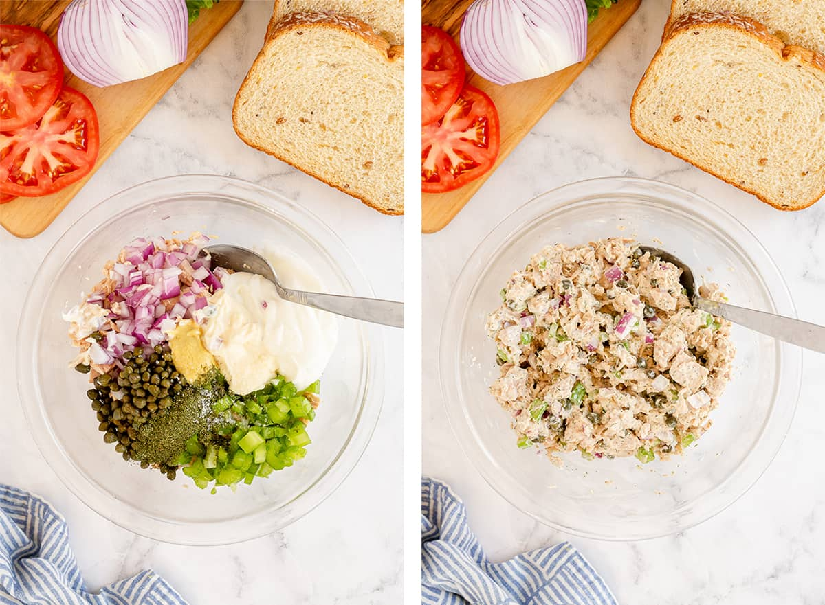 Tuna salad ingredients are combined in a glass bowl.