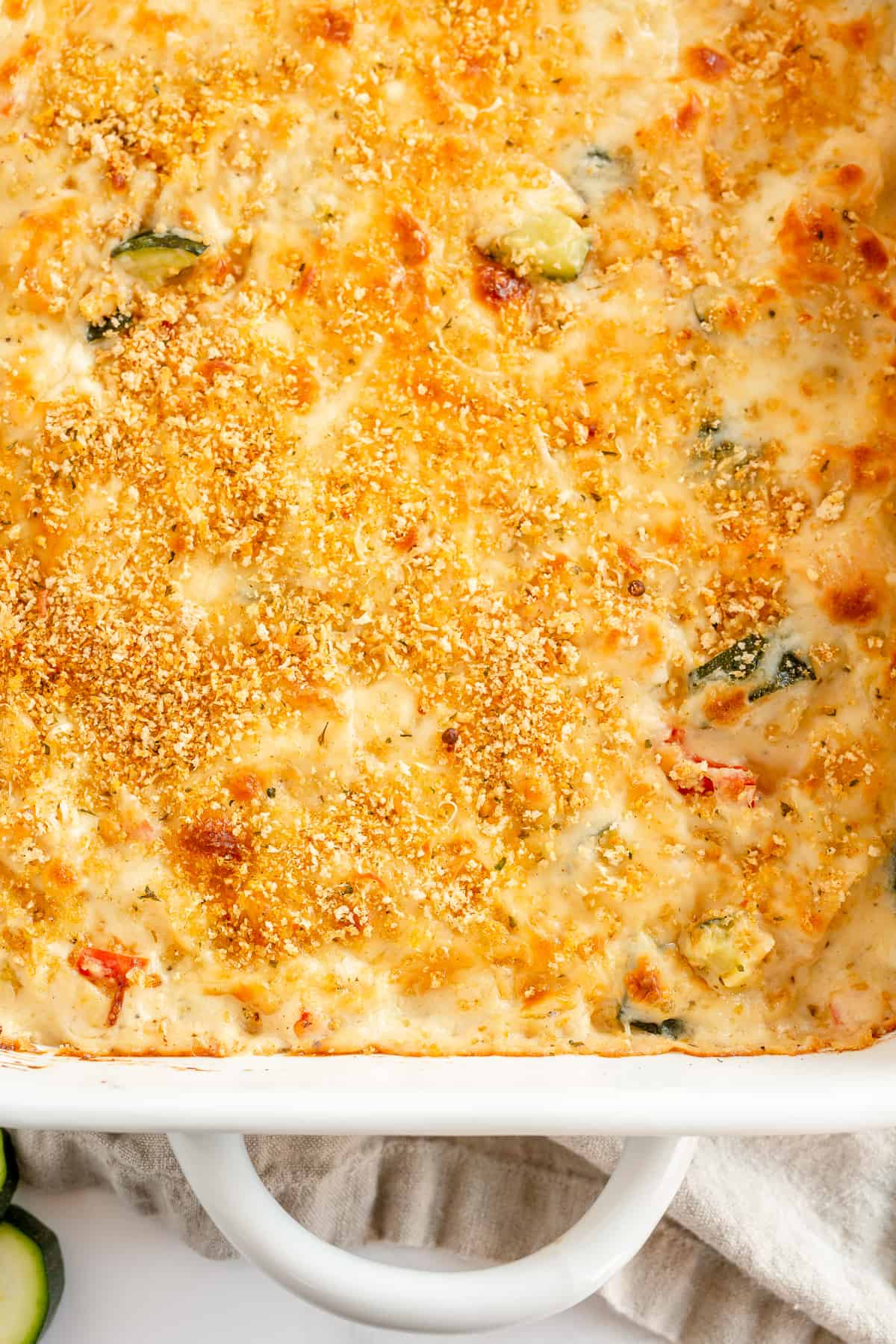 A close up top down shot of Chicken and Zucchini Casserole.