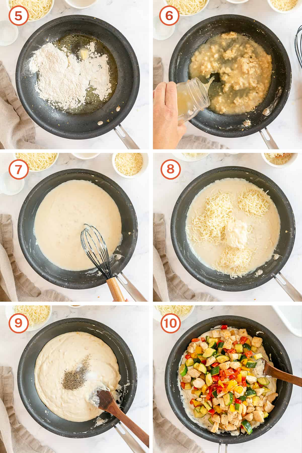 A white sauce cooks in a skillet and cheese, chicken and zucchini are added.