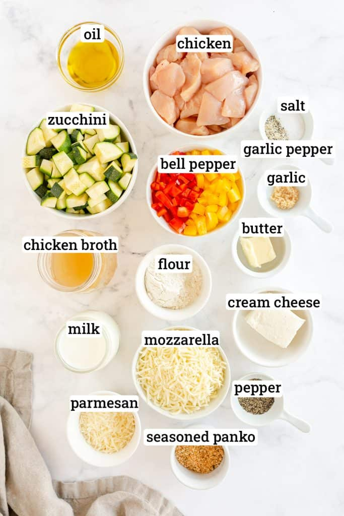 The ingredients for Chicken Zucchini Casserole with overlay text.