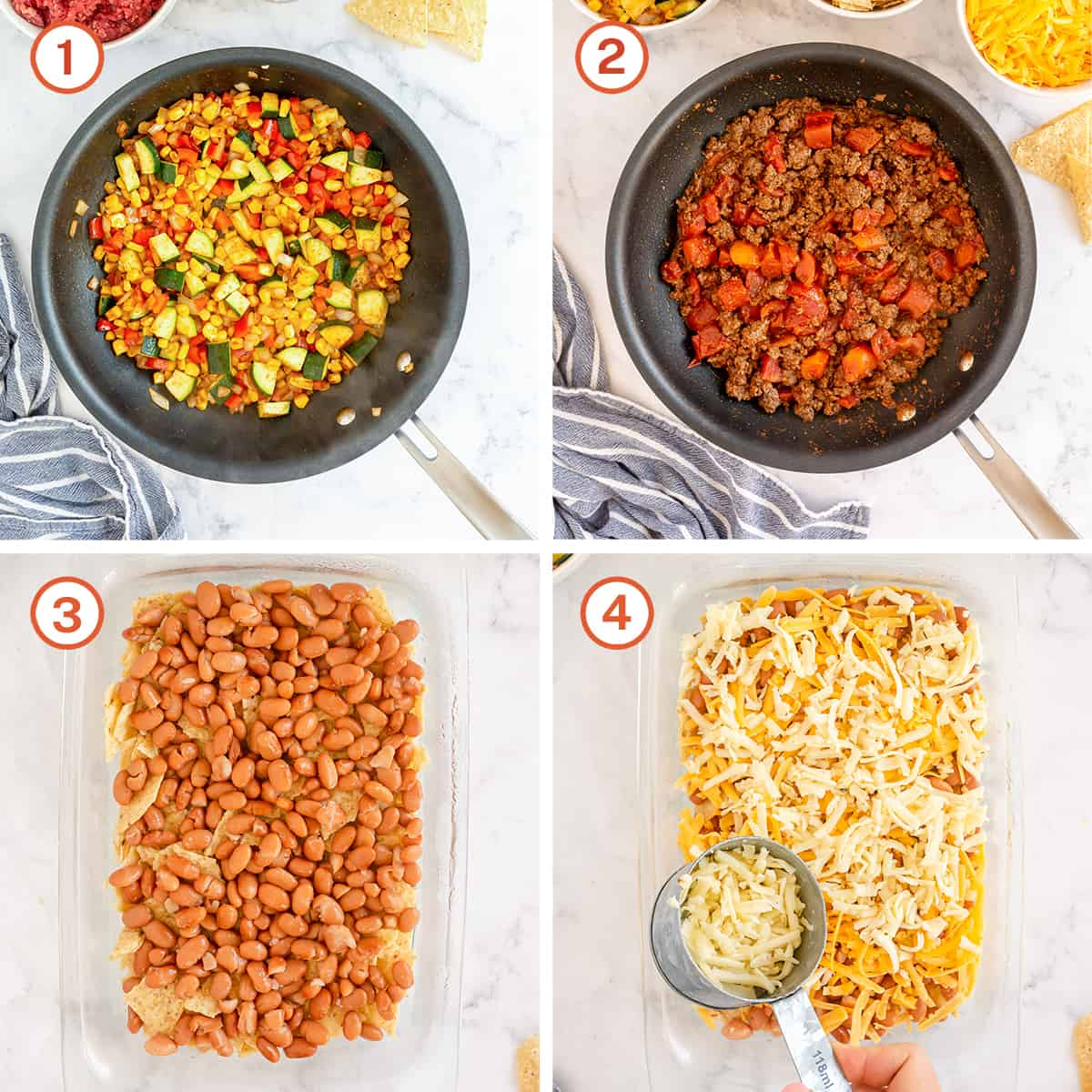 Vegetables and beef cooking in a skillet and ingredients layered in a casserole dish.