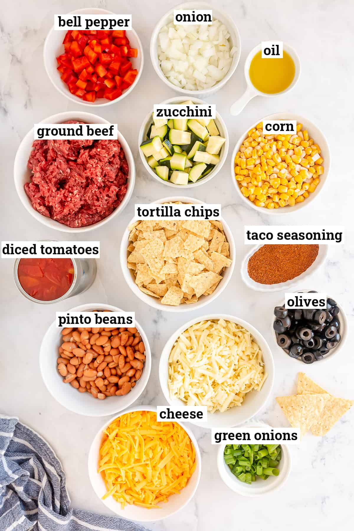 Ingredients for Beef and Vegetable Taco Bake