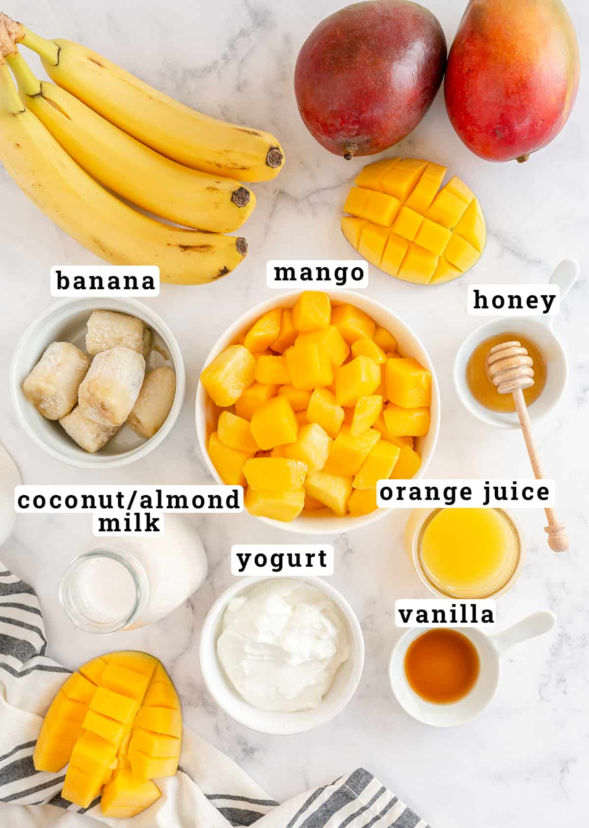 Mango Smoothie ingredients with text overlay.