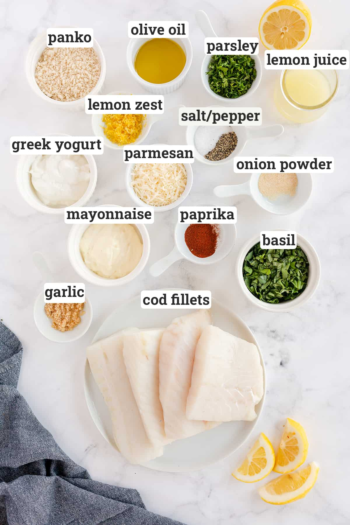 Ingredients for Lemon Basil Baked Cod with text overlay.