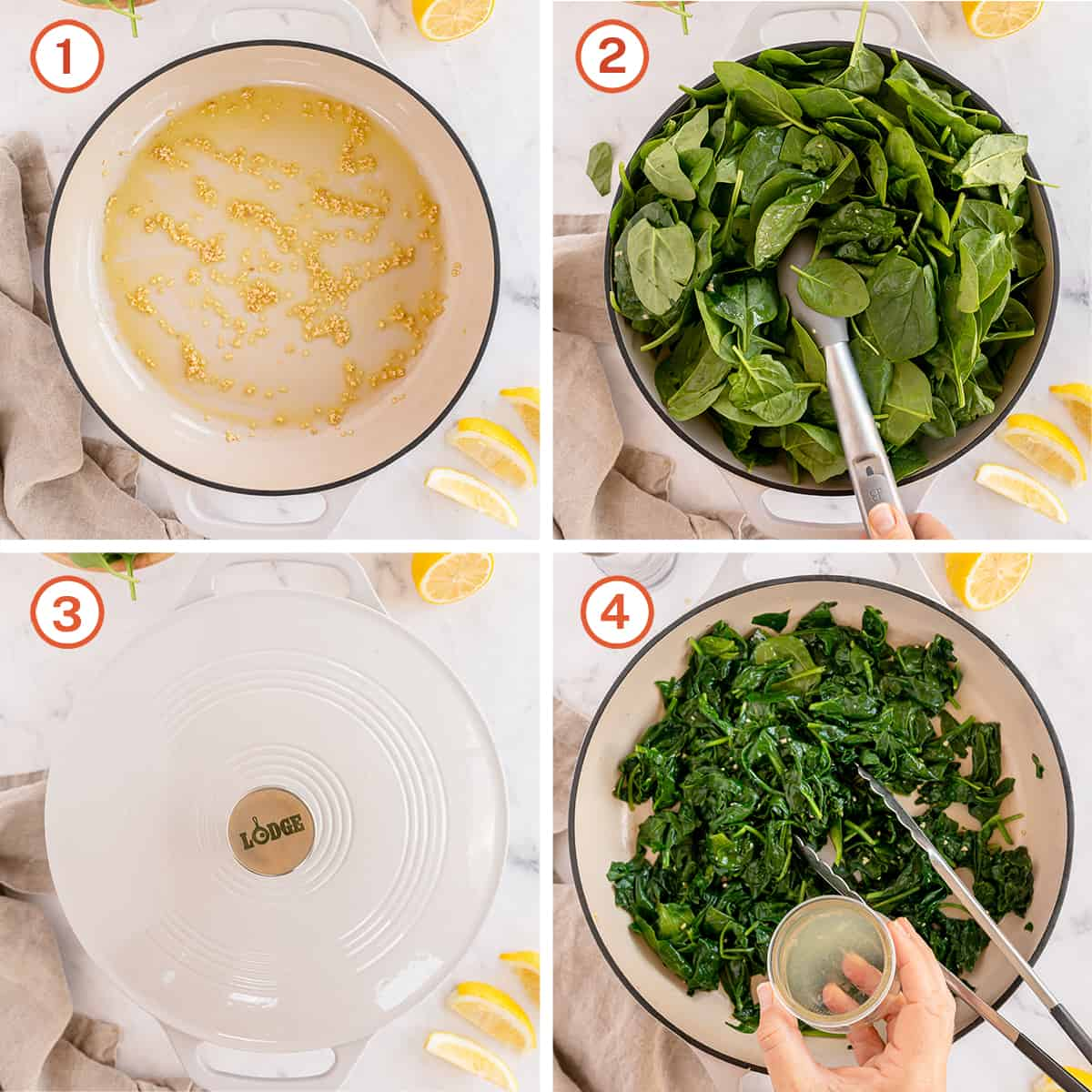 Garlic and spinach cooking in a pan with lemon juice.