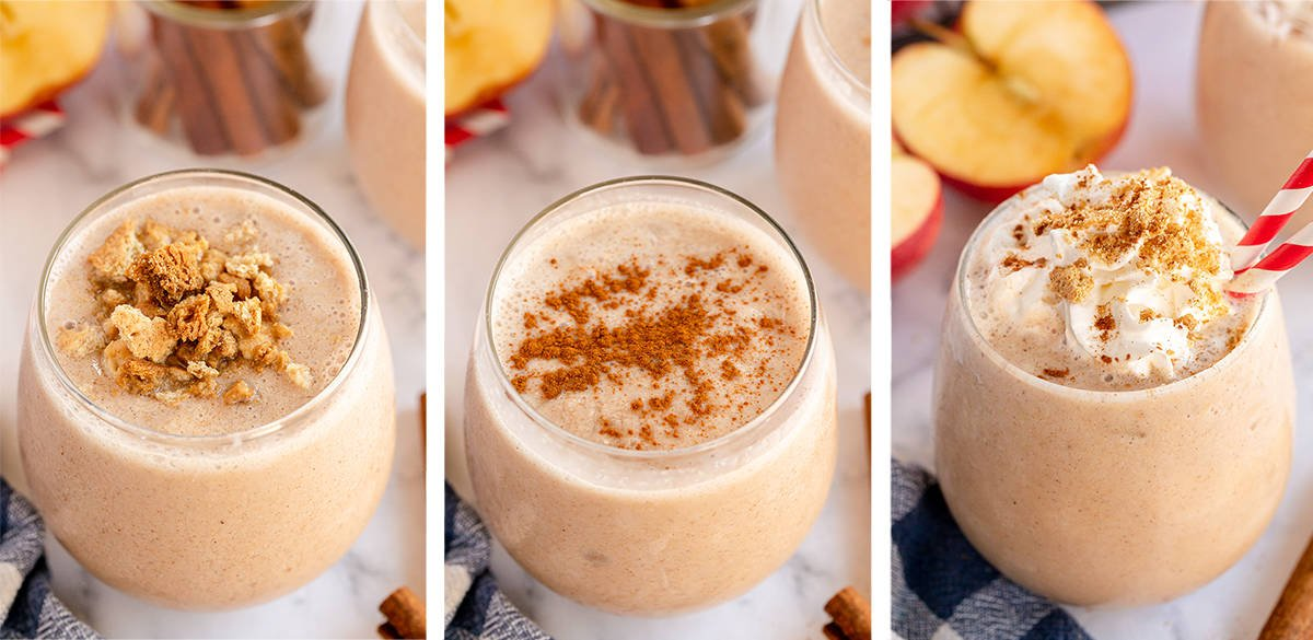 Three Apple Pie Smoothies with different toppings.