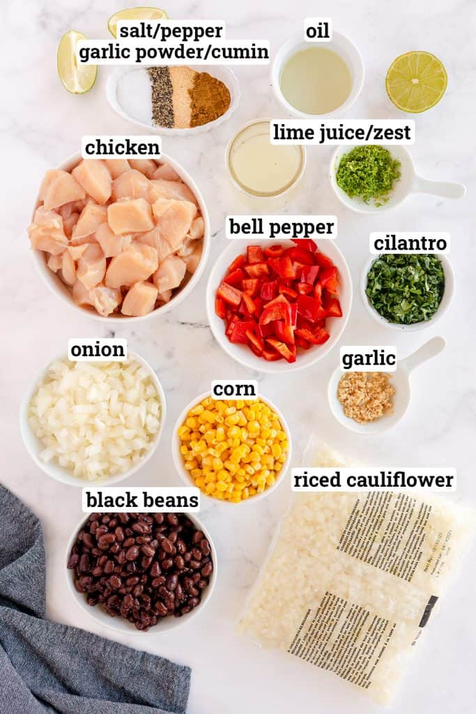 The ingredients for Cilantro Lime Chicken Bowls with Tex-Mex Cauliflower Rice with overlay text.