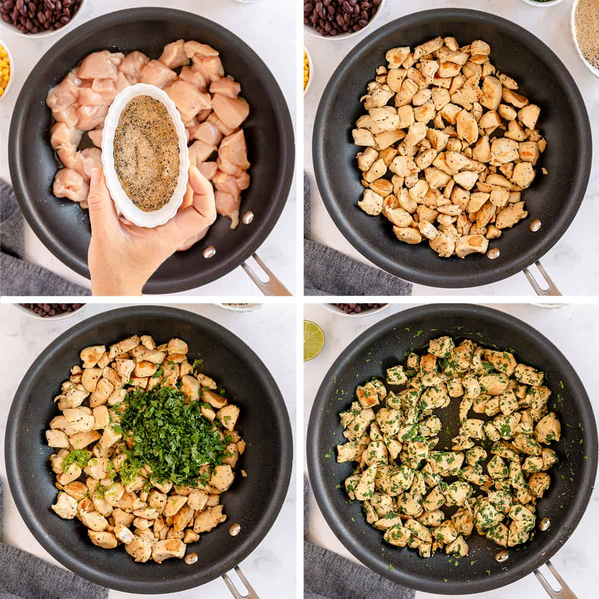 Chicken, seasonings, and cilantro cooking in a skillet.